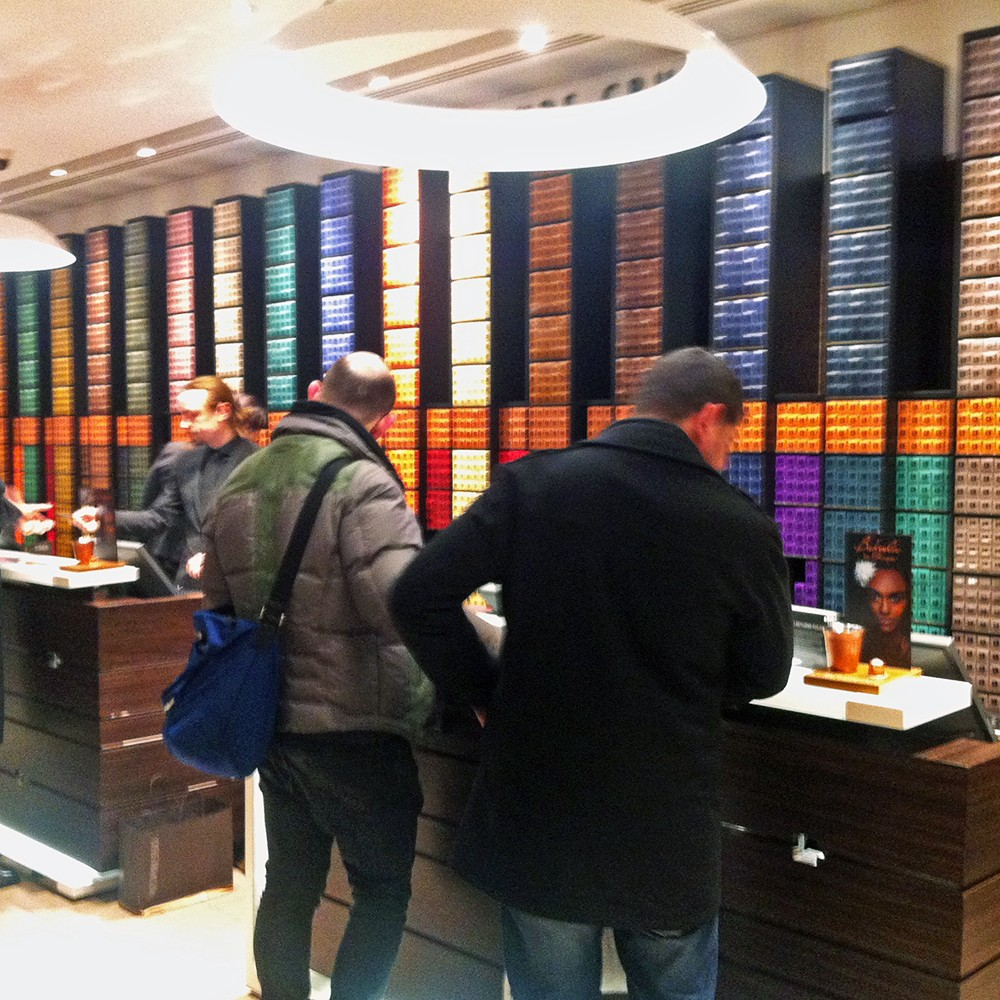 Walls and walls full of coffee capsules at Nespresso Boutique